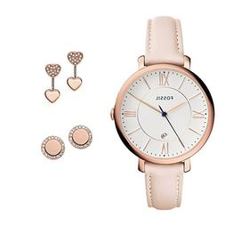 Fossil Women's Jacqueline Pink Leather Rose Gold Strap Watch