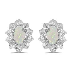 womens 10k white gold oval opal 5x3mm