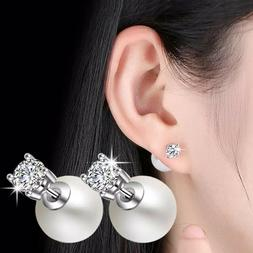 ZARD Clear CZ and Imitation Pearl Front-Back Reversible Stud