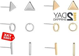 zealmer geometric stud earring set gold silver